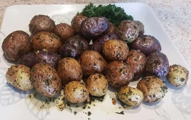how to cook with air frying multicolored roasted potatoes