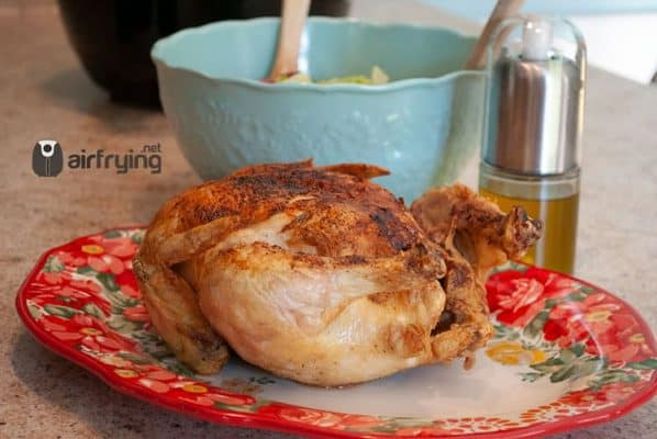 Air Fryer Whole Chicken Cooked with Salad