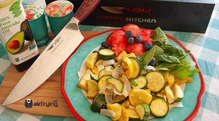 Zucchini, Yellow Squash, and Yellow Onion Air Fried Dish