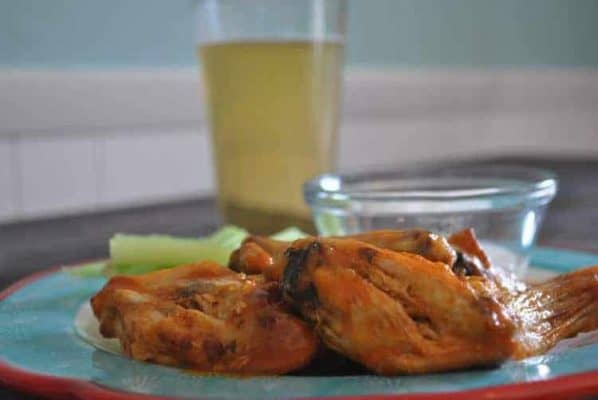 cooked buffalo wings in an air fryer