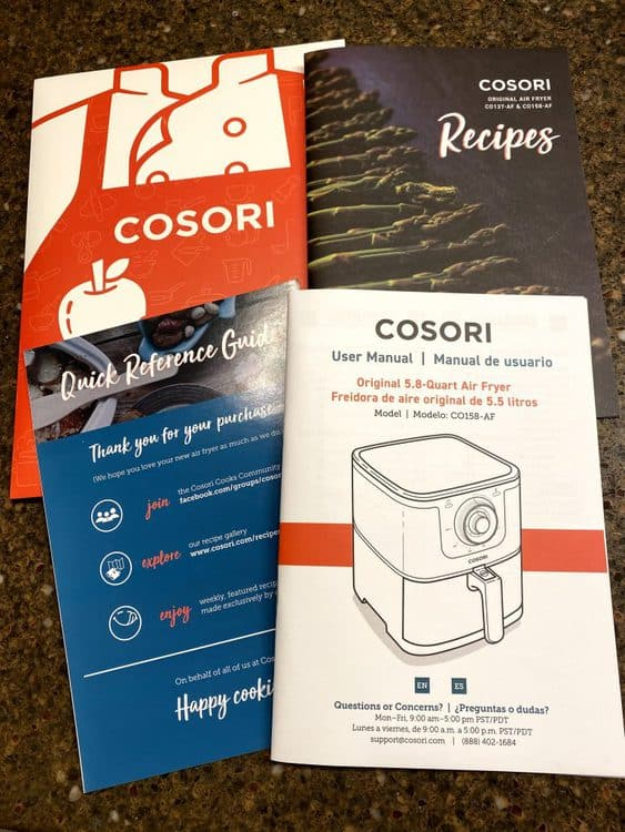 Cosori original 5.8 quart air fryer included items